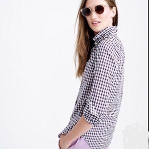 JCREW Gingham Blouse Shirt 2 Small Long Sleeve
